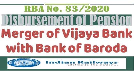 RBA No.83 /2020 : Disbursement of Pension – Railway Board Order in view of Merger of Vijaya Bank with Bank of Baroda