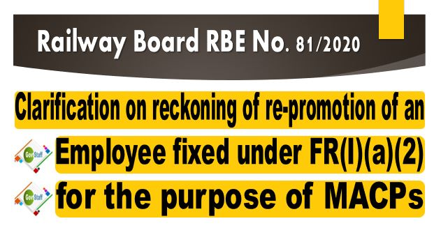 Reckoning of re-promotion of an employee under MACPs – Clarification on pay fixation under FR 22(I)(a)(2) with illustration