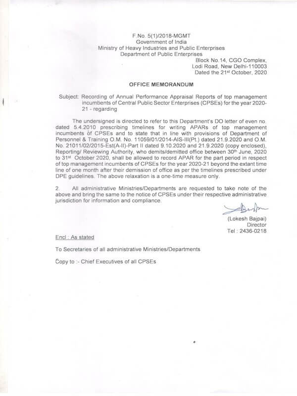 Recording of APAR of CPSEs for the year 2020-21 reg – DPE O.M. dated 21-10-2020