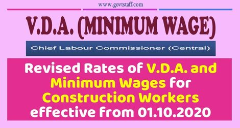 Revised Rates of V.D.A. and Minimum Wages for Construction Workers effective from 01.10.2020