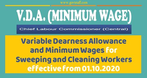 Variable Dearness Allowance and Minimum Wages for Sweeping and Cleaning Workers effective from 01.10.2020