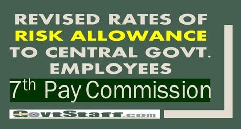 7th CPC Revised rates of Risk Allowance to Central Govt. employees – DoPT Order Dt 3 Nov 2020