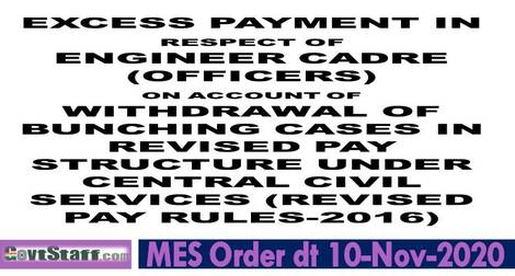 7th Pay Commission: Refixation of pay due to withdrawal of bunching effect – MES order dated 10-11-2020