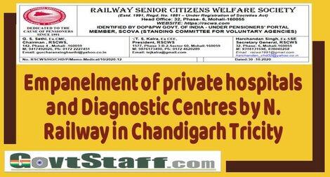Empanelment of private hospitals and Diagnostic Centres by N. Railway in Chandigarh Tricity – RSCWS writes to DRM, NR