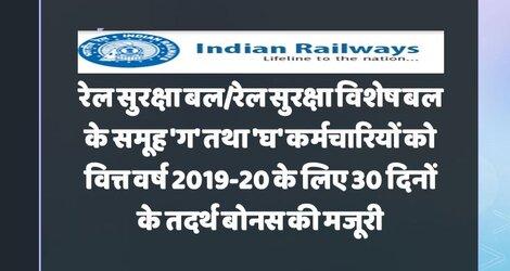 30 दिनाें का तदर्थ बोनस : रेल सुरक्षा बल/रेल सुरक्षा विशेष बल के समूह 'ग' तथा 'घ' कर्मचारियों के लिए