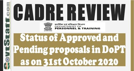 Cadre Review – Status of Approved and Pending proposals in DoPT as on 31st October 2020
