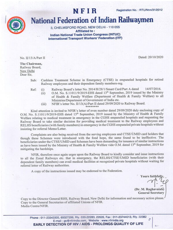Cashless Treatment Scheme in Emergency (CTSE) in empaneled hospitals for retired Railway employees and their dependent family members – NFIR writes to the Chairman, Railway Board