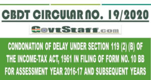 cbdt-circular-condonation-of-delay-under-section-119-2-b-of-the-income-tax-act-1961-in-filing-of-form-no-10-bb-for-assessment-year-2016-17-and-subsequent-years