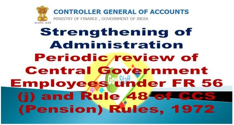 CGA Order: Strengthening of Administration- Periodic review of Central Government Employees under FR 56 (j) and Rule 48 of CCS (Pension) Rules, 1972