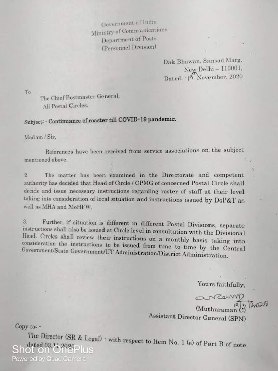 Dept. of Posts : Continuance of roaster till COVID-19 pandemic