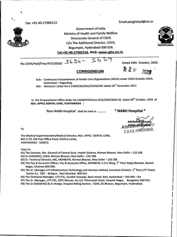 Corridendum : Continuous Empanelment of M/s. APPLE DENTAL CARE, VIJAYAWADA – CGHS order dated 02 Nov 2020