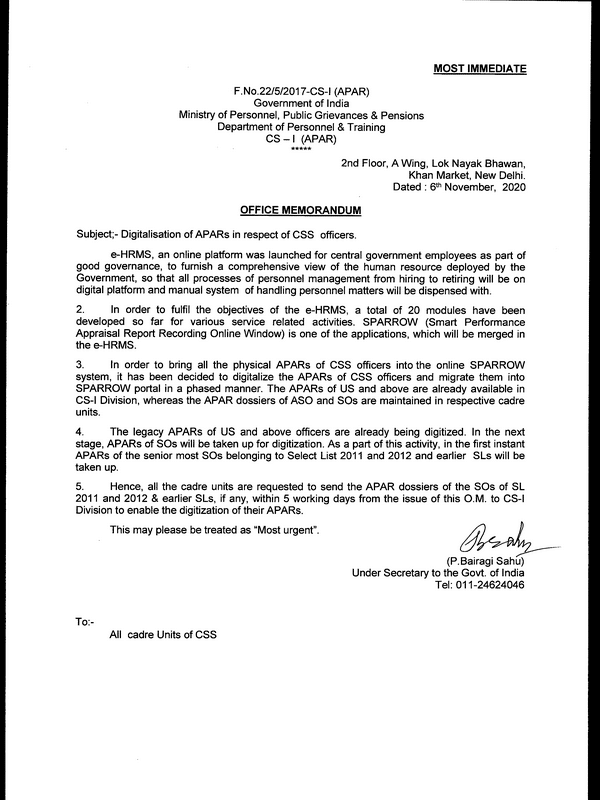 Digitalisation of APARs in respect of CSS officers: DoPT Order dated 06.11.2020