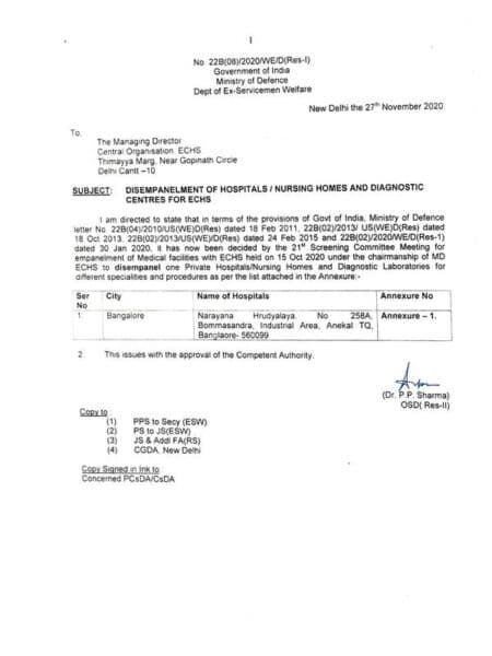 disempanelment-of-narayana-hrudyalaya-bangalore-for-echs