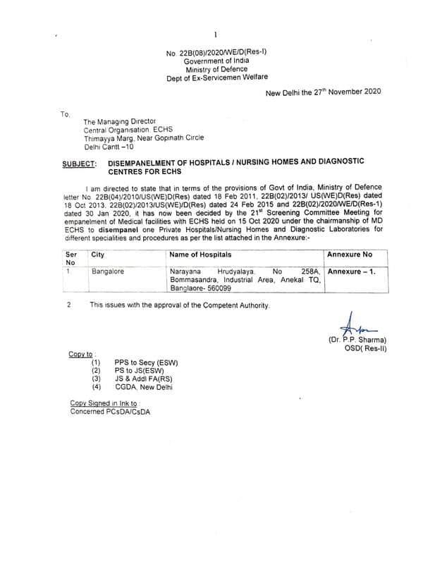 Disempanelment of Narayana Hrudyalaya, Bangalore for ECHS