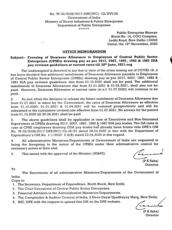 DPE guidelines on Freezing of Dearness Allowance applicable to Executives and Non-Unionised Supervisors of CPSEs drawing 2017, 2007, 1997, 1992 & 1987 IDA pay scales