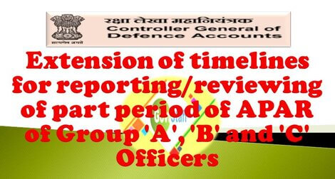 Extension of timelines for reporting/reviewing of part period of APAR of Group 'A', 'B' and 'C' Officers – CGDA letter dated 18-11-2020