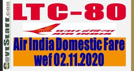 LTC-80 Air India Domestic Fares w.e.f. 02nd November 2020