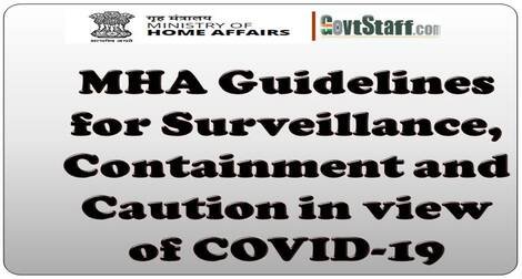 MHA Guidelines for Surveillance, Containment and Caution in view of COVID-19