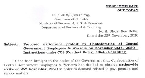 Nationawide Strike by Confederation of Central Government Employees & Workers – Instruction under CCS (Conduct Rules), 1964 – reg.