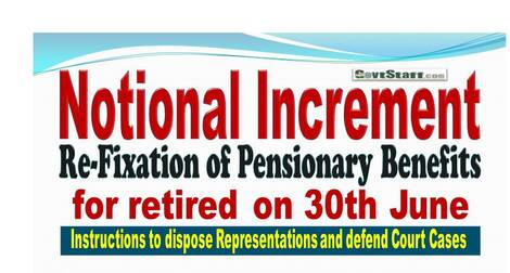 Notional Increment/Re-Fixation of Pensionary Benefits for retired on 30th June: Instructions to dispose Representations and defend Court Cases