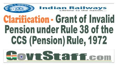 Railway Board: Grant of Invalid Pension under Rule 38 of the CCS (Pension) Rule, 1972 – clarification