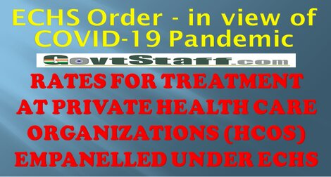 Rates for treatment at private health care organizations empanelled under ECHS-In view of the Covid-19 pandemic