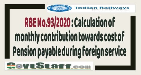 RBE No.93/2020 : Calculation of monthly contribution towards cost of Pension payable during foreign service – Railway Board
