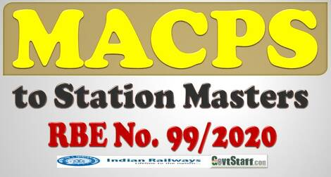RBE No. 99/2020 : Grant of Financial Upgradation under MACPS to Station Masters