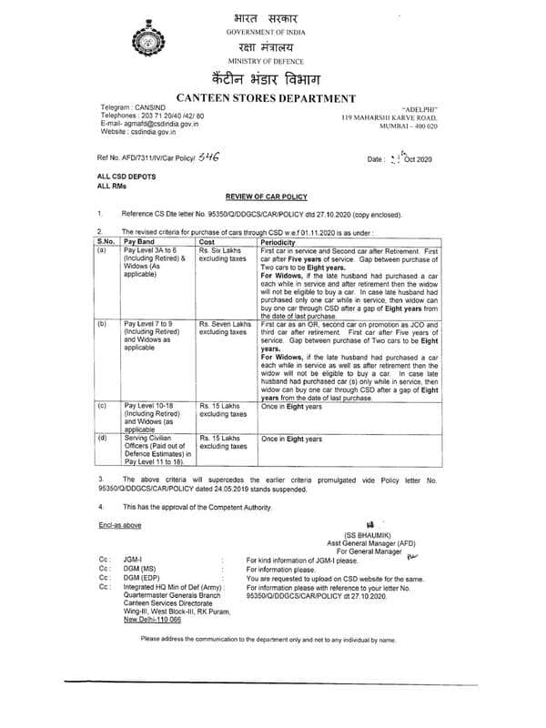 Canteen Stores Department (CSD) : Review of Car Policy- Order dated 29-10-2020