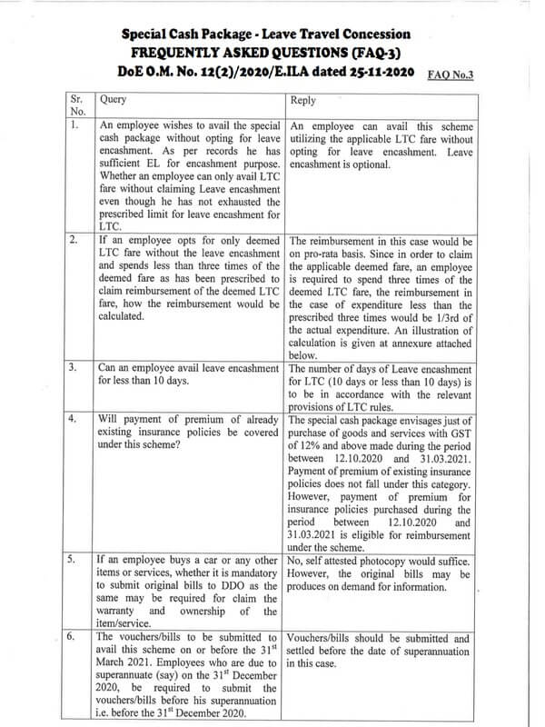 Special Cash Package equivalent in lieu of Leave Travel Concession – 3rd FAQ by Finmin dated 25-11-2020