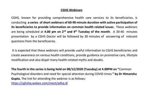 Fourth CGHS Webinars on 08/12/2020 for providing information on common health related issues