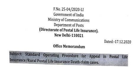 Appeal in Postal Life Insurance/Rural Postal Life Insurance Death claim cases – Standard Operating Procedure (SOP)