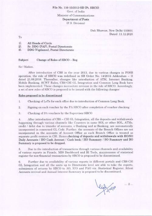 Change of Role of Saving Bank Control Organization (SBCO) – Department of Posts
