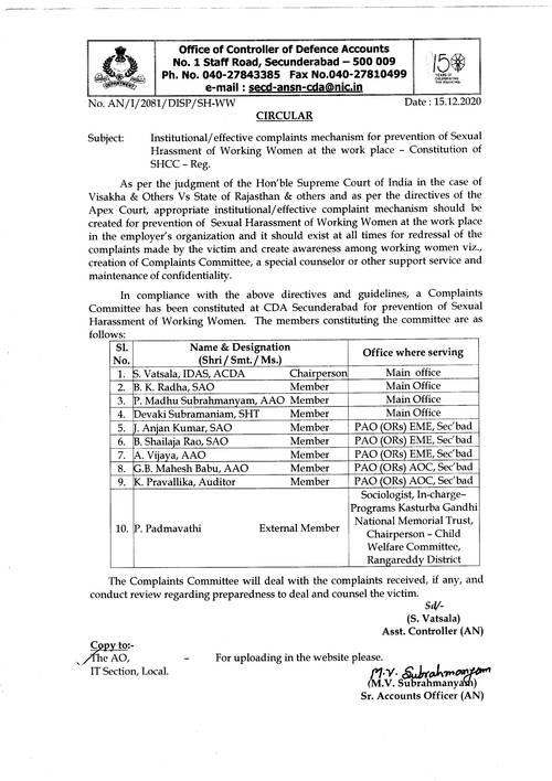 Constitution of Sexual Harassment Complaints Committee for prevention of Sexual Hrassment of working women at the work place.