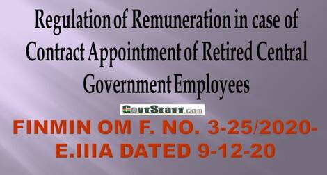 Contract Appointment of Retired Central Government Employees – Regulation of Remuneration – reg