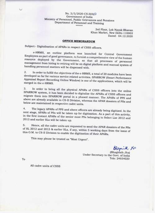 Digitalisation of APARs – DoPT seeks APAR dossiers in respect of all CSSS officers