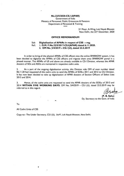 Digitalisation of APARs of CSS Officers and Migration onto SPARROW portal – DoPT O.M. dated 22.12.2020