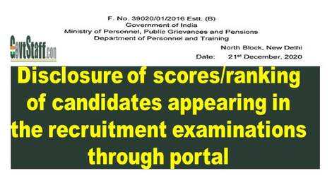 Disclosure of scores/ranking of candidates appearing in the recruitment examinations through portal : DoPT OM dated 21-12-2020