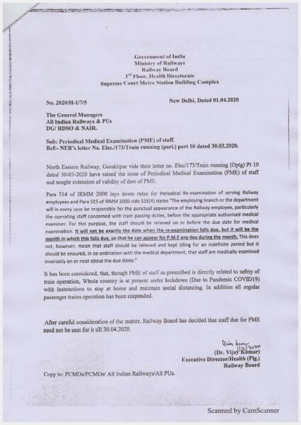 extension of the date for periodical medical examination of safety and operational staff railways