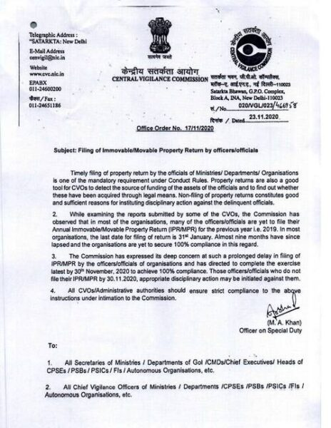 filing-of-immovable-movable-property-return-by-its-group-a-and-tes-group-b-officers-cvc-office-order-nov-2020