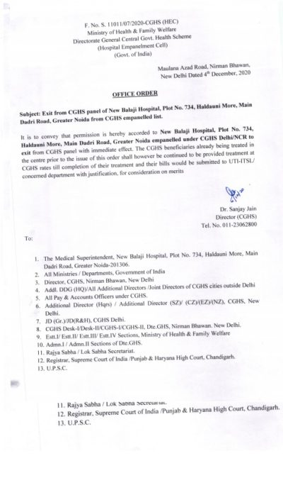 New Balaji Hospital- Greater Noida: Exit from CGHS empanelled List