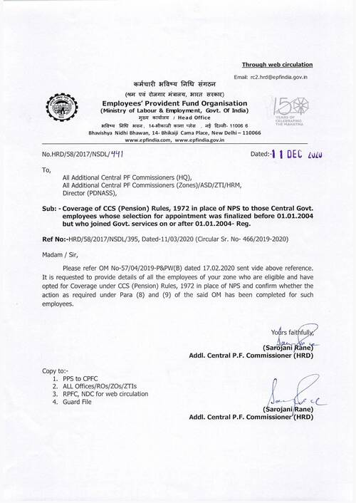 NPS to OPS to those Central Govt. employees whose selection for appointment was finalized before 01.01.2004 but who joined Govt. services on or after 01.01.2004
