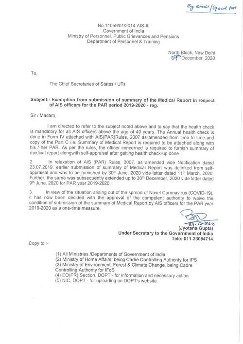 One time relaxation from submission of Annual Health report for the PAR 2019-2020
