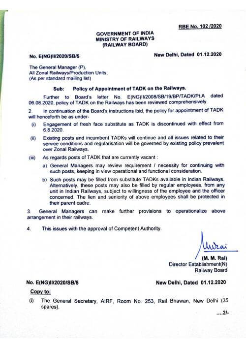 Policy of Appointment of TADK on the Railways