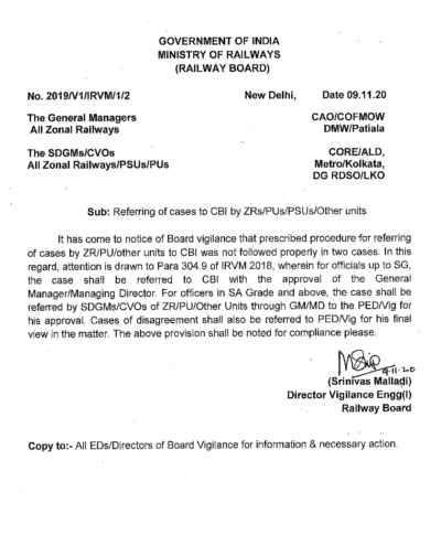 Railway Board Order on Referring of cases to CBI by ZRs/PUs/PSUs/Other units