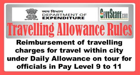 Reimbursement of travelling charges for travel within city under Daily Allowance on tour for officials in Pay Level 9 to 11 – Travelling Allowance Rules