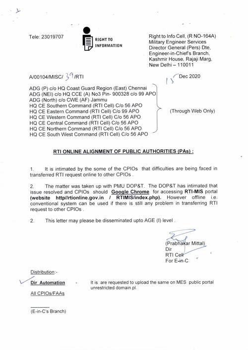 RTI online alignment of public authorities (PAs) – MES order dated 15-12-2020