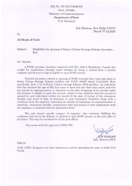 Senior Citizen Savings Scheme – Eligibility for opening of Accounts reg.: Dept. of Posts