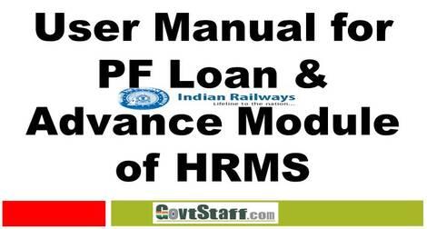 User Manual for PF Loan & Advance Module of HRMS: Railway Board