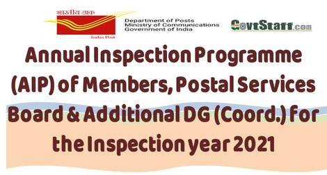 Annual Inspection Programme (AIP) of Members, Postal Services Board & Additional DG (Coord.) for the Inspection year 2021